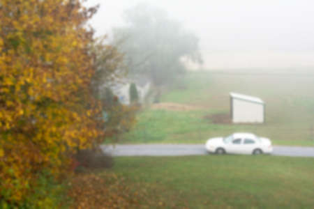 horse stable: Photo of blur white car driving pass a mini horse stable in a foggy morning mist Stock Photo