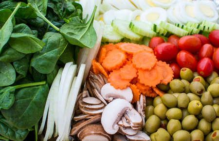 carot: Close up fresh vegetable salad full frame