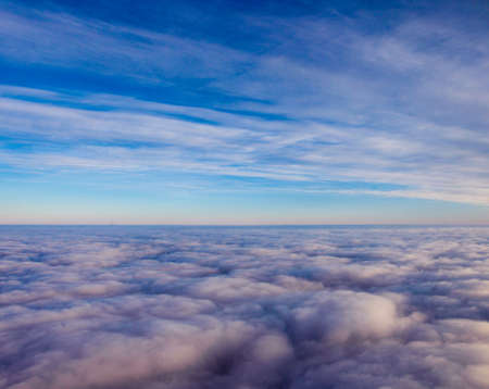 superb: Superb heavenly clouds blue sky image. View from aircraft airplane Stock Photo