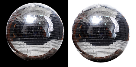 disco mirrorball: picture of two disco ball at black and white  background