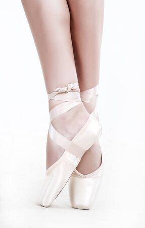 beautiful feet: Legs in shoes of woman who dancing in ballet