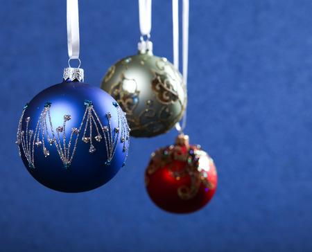color balls: Christmas decoration color balls at blue background