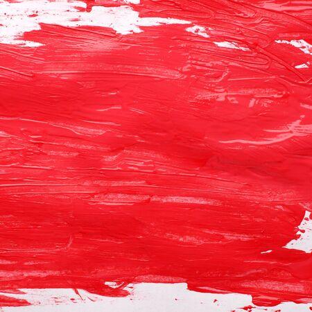 glisten: red gouache glisten textured background at white Stock Photo