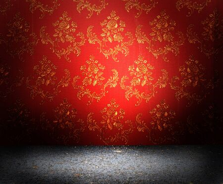 RED WALLPAPER: Old red wallpaper texture with flowers on them Stock Photo