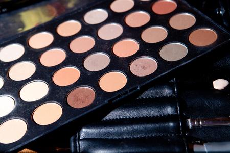 eyeshadow: Set of brown eyeshadow palette Stock Photo