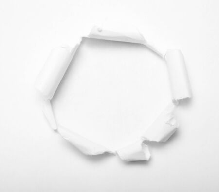 gash: Hole in white paper with empty inside