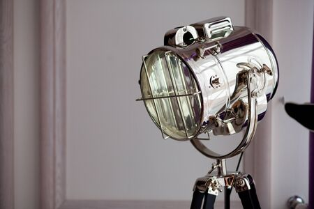destined: Metal floor lamp for photostudio, destined to studio lighting Stock Photo