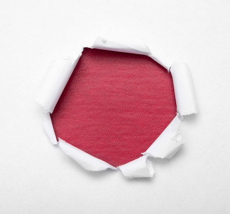 gash: Hole in white paper with color empty inside