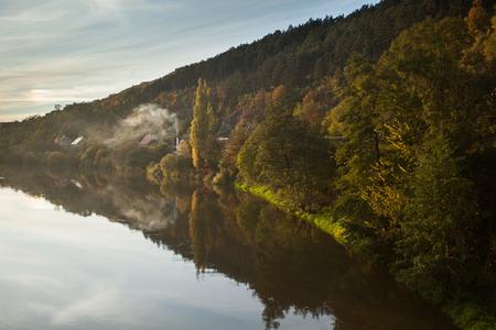 habitable: River and rural landscape Stock Photo