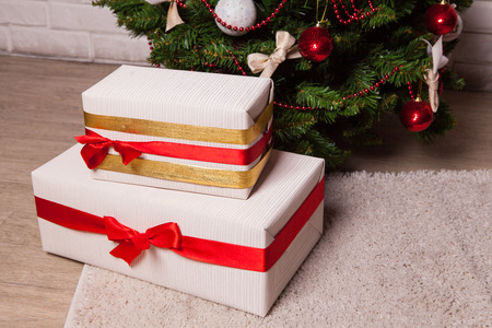 fancy box: Christmas tree with gifts