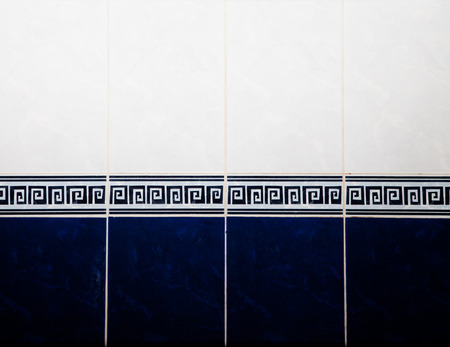 luxuries: Bathroom blue and white tile on the wall