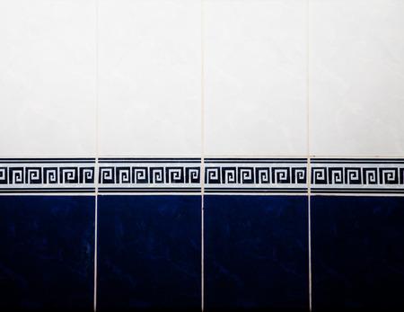 bathroom wall: Bathroom blue and white tile on the wall