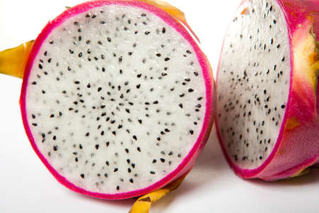 dragonfruit: Fresh ripe exotic fruit dragonfruit at white background