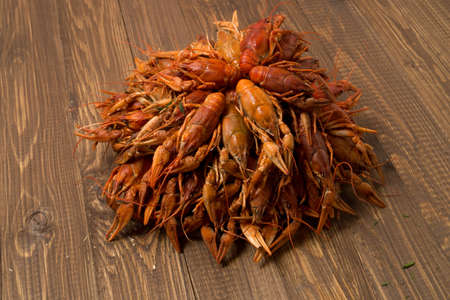 Prepared delicious crayfishes for snack are on the table