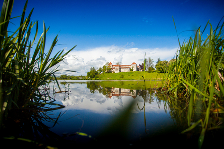 incomparable: Incomparable view of bright summer nature and ancient castle on the hill with its reflaction in the rivers water Stock Photo