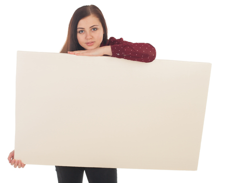 enlighten: A canvas is taken by a beautiful woman against of white background Stock Photo