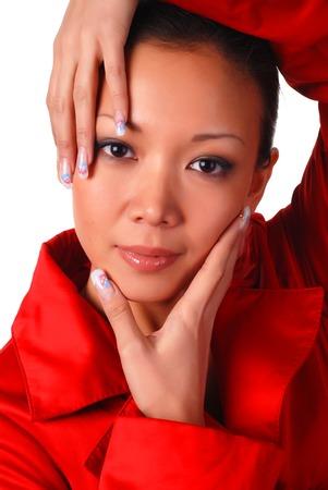 cloak: portrait of a beautiful woman in red autumnal cloak Stock Photo