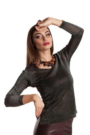 1 person: Beauty fashion woman in white studio Stock Photo
