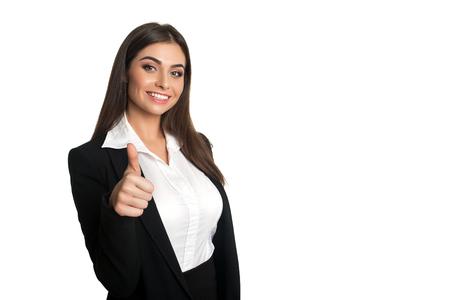 """Modello attraente in tuta da lavoro nero mostrando """"It`s very good"""""""