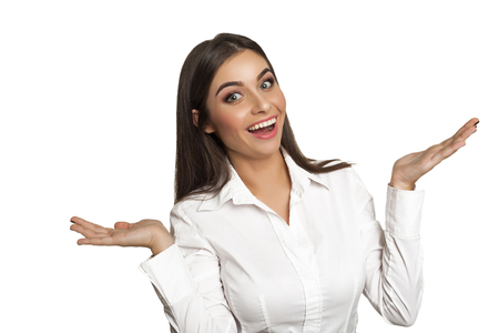Young woman showing I don`t know what to do Stock Photo