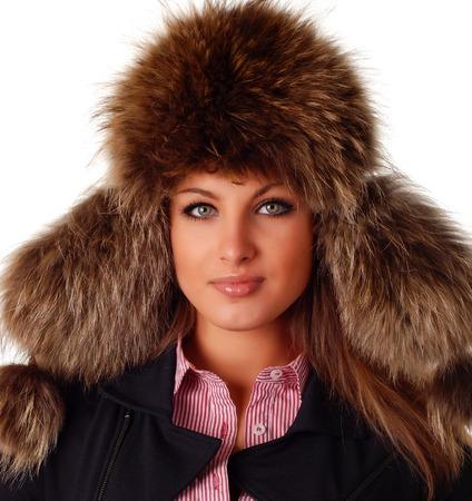 beautiful woman in fur cap with ear flaps