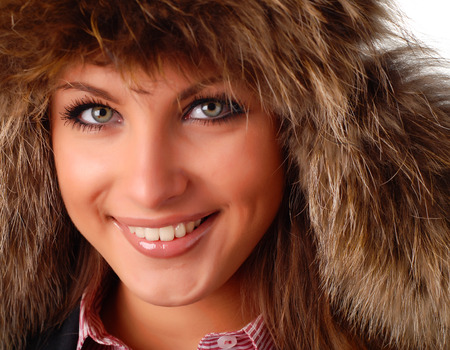 flaps: beautiful woman in fur cap with ear flaps