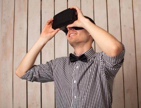 virtual man: Man in virtual reality helmet. VR glasses.