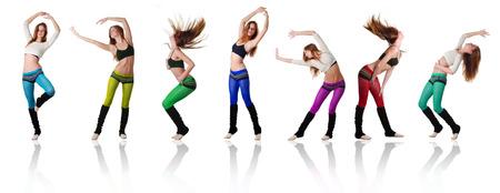 ejercicio aeróbico: siete hermosas mujeres bailando sobre fondo blanco
