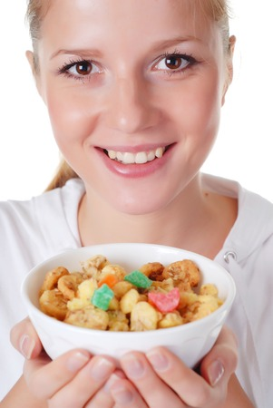 ration: portrait of young woman with plate of muesli