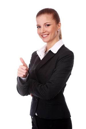 businesswoman suit: portrait of young businesswoman in black suit
