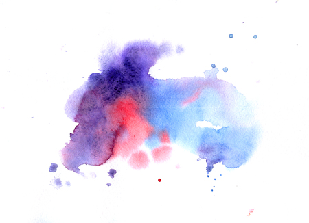 Watercolor texture with blue, purple and red stains on white background