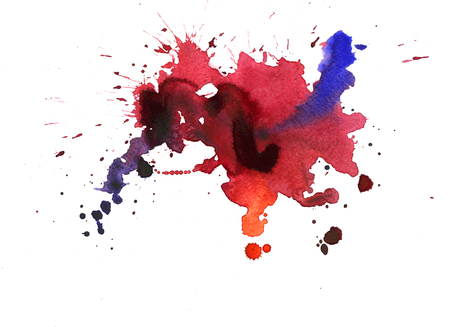 Watercolor texture with dark blue and red stains on white background Stock Photo