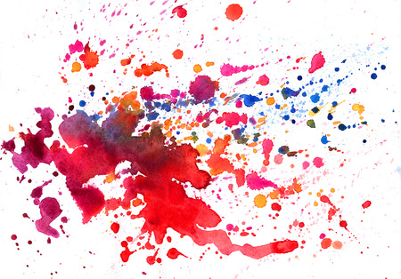 Watercolor texture with varicolored stains on white background Stock Photo