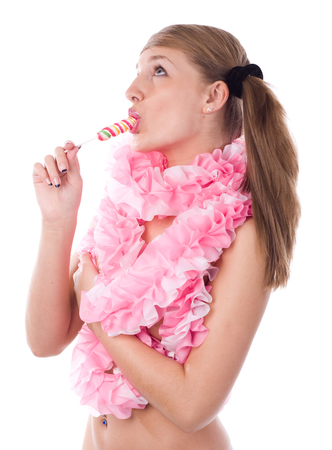 young woman in pink jabot with colored lollipop