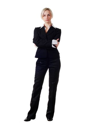 pantsuit: beautiful blond woman in business pantsuit on white background Stock Photo