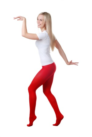 panty hose: beautiful woman in red tights at white background