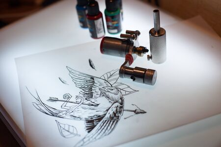 Tattoo equipment and scetch was prepared for making tattoo in salon
