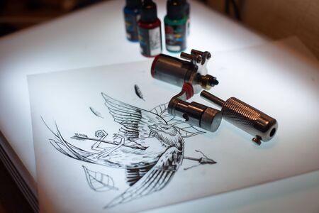 sterilized: Tattoo equipment and scetch was prepared for making tattoo in salon