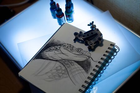 consist: Tattoo accessories consist of tattoo appliance, ink and scetch