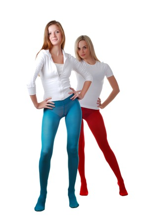 panty hose: two beautiful women in red and blue tights Stock Photo