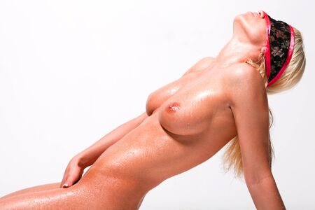 nude blonde woman: beautiful naked woman with black mask on her face