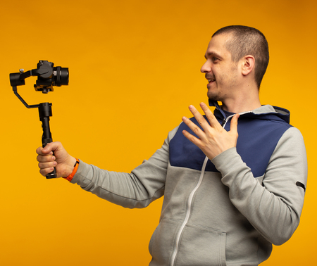 Man video blogger making video for his channel Stock Photo