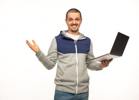 Man freelancer or IT programmer with laptop