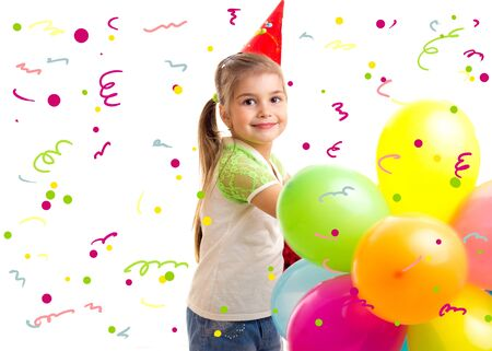 Little smiling girl celebrating birthday with multicolor ballons Фото со стока - 150184309