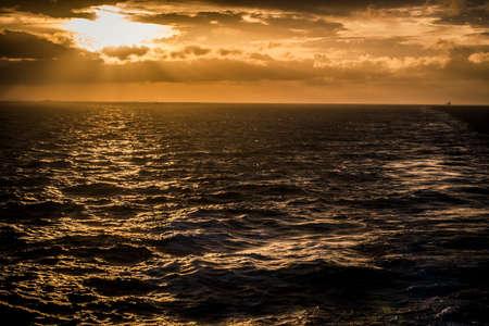 Sunset at sea off the coast of Cebu, Philippines