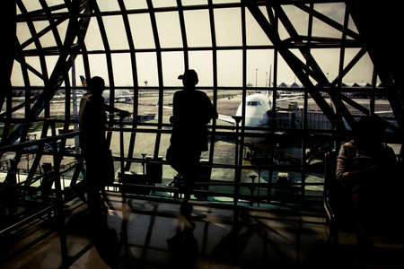 Bangkok, Thailand - 24 February, 2011: Interior of the main international airport terminal in Bangkok during the morning