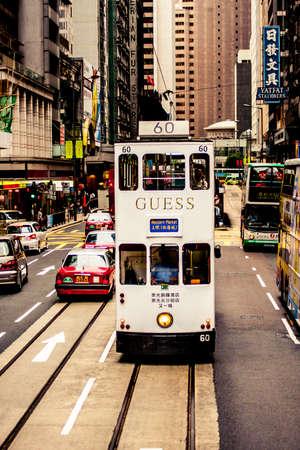 Hong Kong, China - 20 May, 2009: Double deck tram in Causeway bay district of Hong Kong Redactioneel