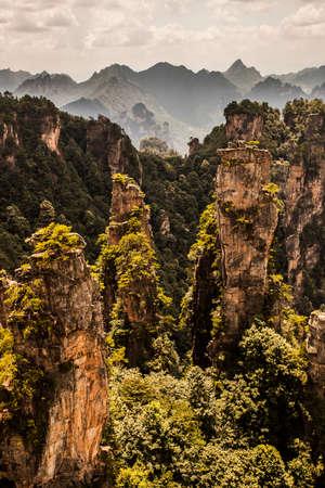 karst pillars at wulingyuan national park, zhangjiajie, hunan province, china
