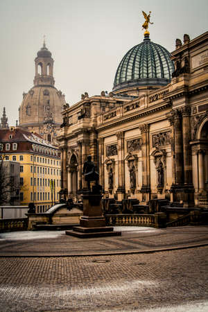 Dresden, Germany - 2 January, 2008: The Dresden Frauenkirche, one of the citys most famous cathedrals