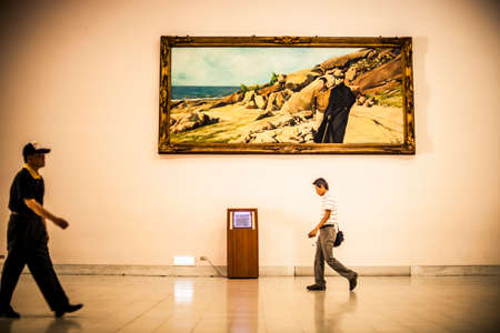 Taipei, Taiwan - 3 October 2012: Large painting on a wall inside the Chiang Kai Shek Memorial Hall in Taipei, Taiwan Editorial
